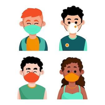 Personnes portant différents types de masques faciaux