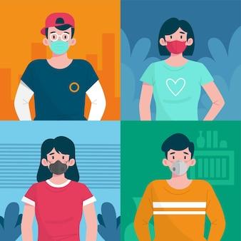 Personnes portant différents types de masques