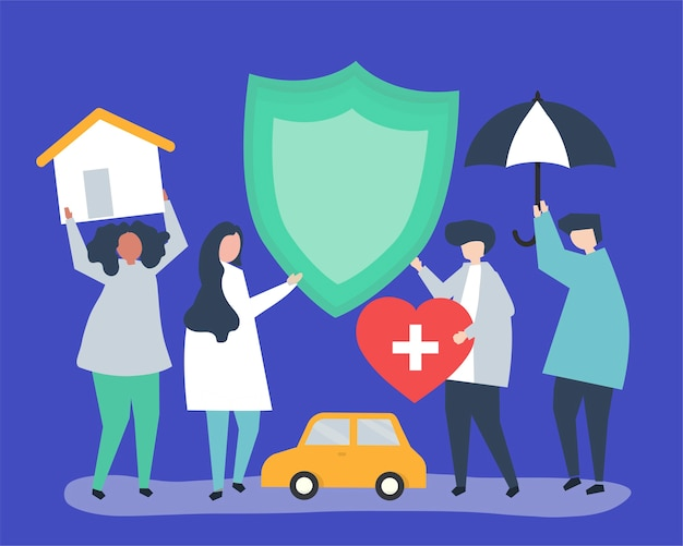 Personnes portant des icônes liées à l'assurance