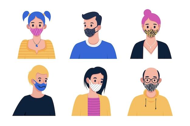 Personnes portant un masque facial en tissu