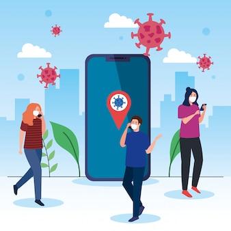 Les personnes portant un masque médical avec les smartphones, la communication, le concept de coronavirus des médias sociaux