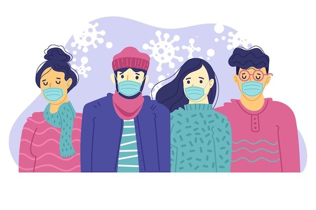 Personnes portant un masque médical