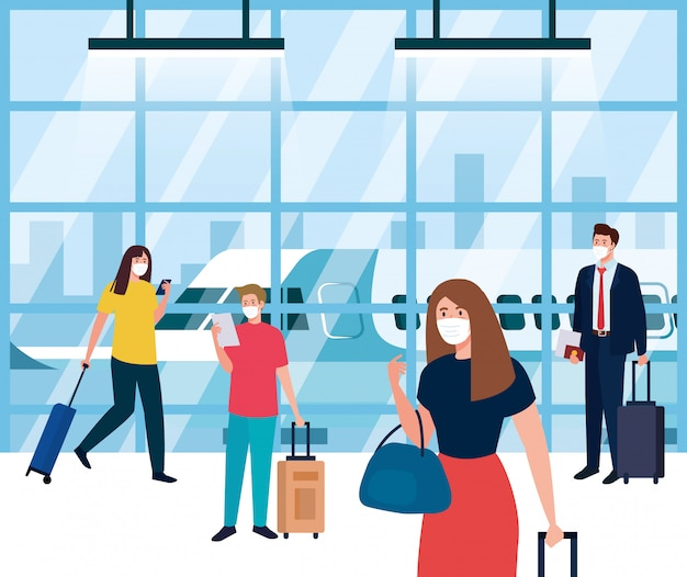 Les personnes portant un masque de protection médicale dans le terminal de l'aéroport, voyageant en avion pendant la pandémie de coronavirus, prévention covid 19