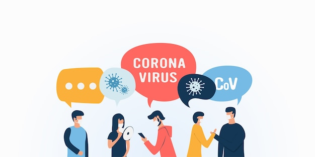 Des personnes portant des masques faciaux parlent de coronavirus.