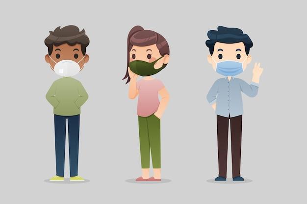 Personnes portant des masques faciaux