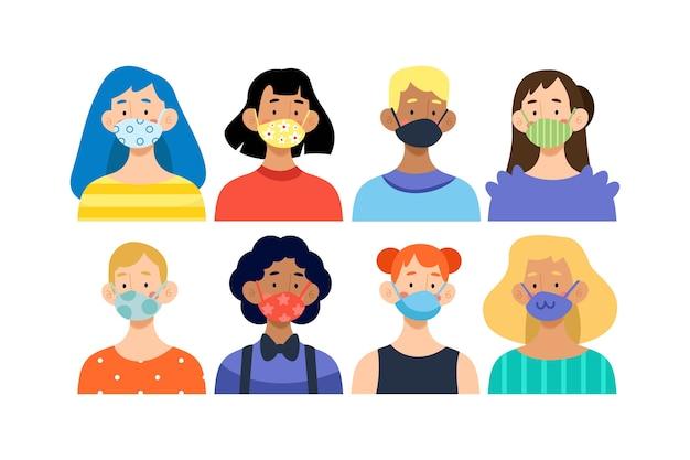 Personnes portant des masques illustration