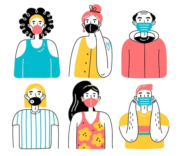 Personnes portant des masques protecteurs médicaux. illustration d'hommes et de femmes, hommes et femmes portant des masques médicaux se protégeant contre le virus, la pollution atmosphérique urbaine, l'air contaminé.