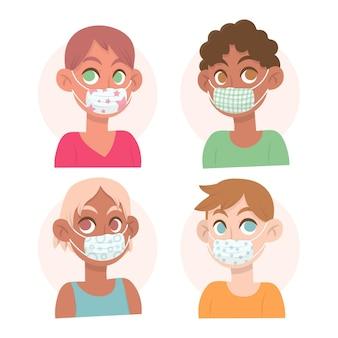 Les personnes portant des masques en tissu concept