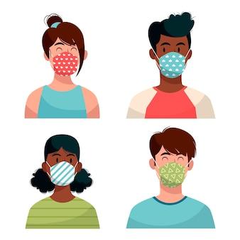 Personnes portant des masques en tissu