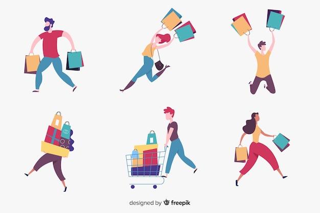 Personnes portant des sacs collectio