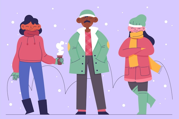 Personnes portant des vêtements d'hiver confortables