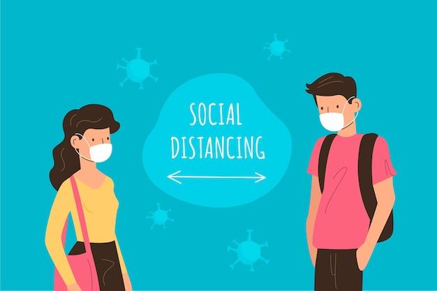 Personnes pratiquant la distanciation sociale