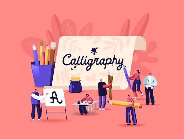 Personnes pratiquant l'orthographe lettrage et le concept de calligraphie. personnages écrivant des lettres, script, loisirs créatifs. femme assise à table avec un stylo à la main. illustration vectorielle de dessin animé