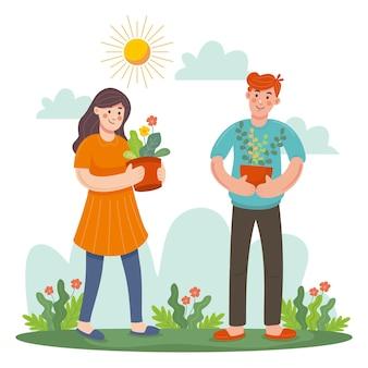Personnes prenant soin des plantes dessinées à la main