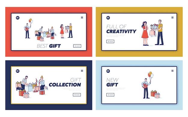 Personnes présentant des cadeaux de vacances