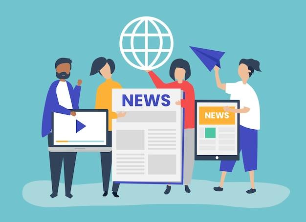 Personnes présentant différents types de moyens pour accéder aux nouvelles