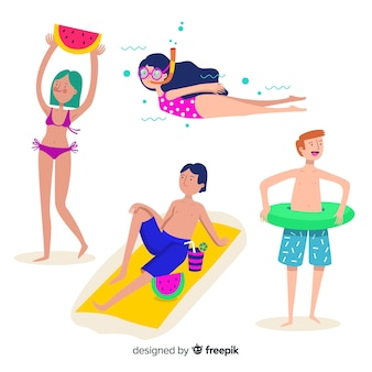 Personnes profitant de l'été à la plage
