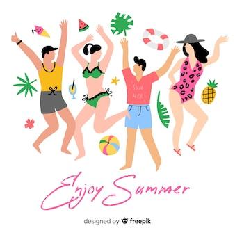 Personnes profitant de l'été