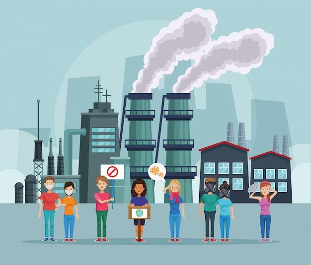 Personnes protestant contre la scène de la pollution de l'environnement