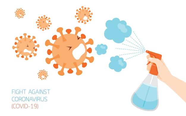 Personnes pulvérisant de l'alcool en vaporisateur sur les virus, personnage de dessin animé pour désinfecter la maladie à coronavirus, covid-19, prévenir la maladie et l'hygiène, garder votre santé