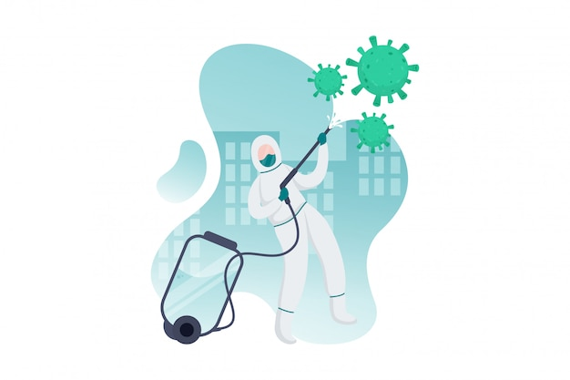 Personnes, pulvérisation, désinfectant, illustration