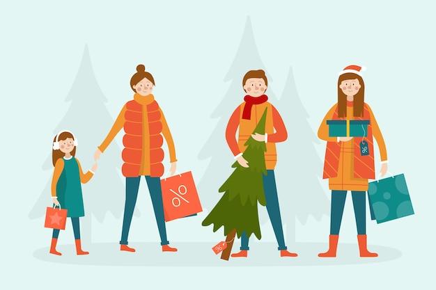 Personnes qui achètent des cadeaux fond de saison d'hiver