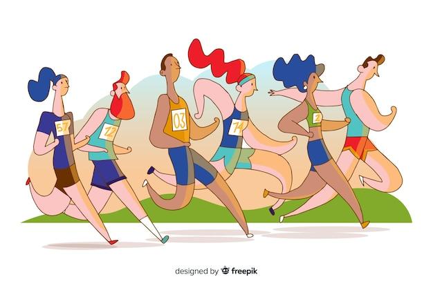 Personnes qui courent une course de marathon