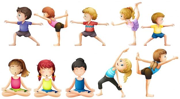 Personnes qui font du yoga dans différents postes