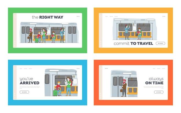 Personnes qui passent par un ensemble de modèles de page d & # 39; atterrissage de métro