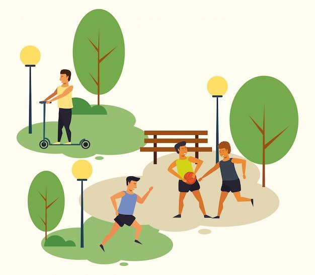 Personnes qui pratiquent des sports au parc