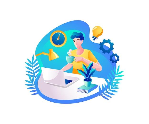 Les personnes qui regardent l'ordinateur et travaillent à partir d'un bureau à domicile