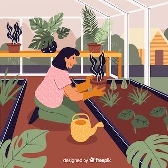 Personnes qui s'occupent des plantes