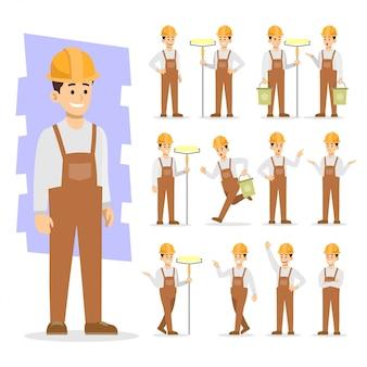 Personnes qui travaillent le caractère d'icône icône vector