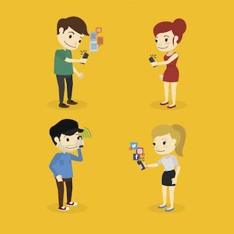 Les personnes qui utilisent des téléphones mobiles