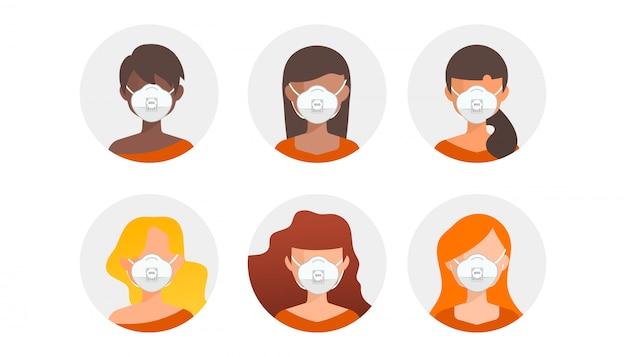 Personnes de races différentes dans un masque médical blanc.
