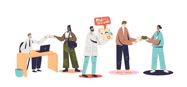 Personnes recevant des médicaments, une aide médicale et des diagnostics pour un contrat d'assurance maladie. concept de soins de santé et de protection contre les accidents d'urgence. illustration vectorielle plane de dessin animé