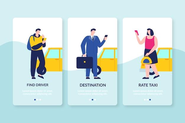 Les personnes à la recherche d'écrans d'application d'intégration de taxi