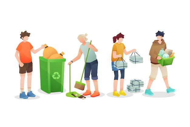 Personnes recyclant isolé sur fond blanc
