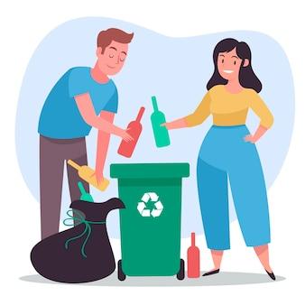 Personnes recyclant avec poubelle et bac