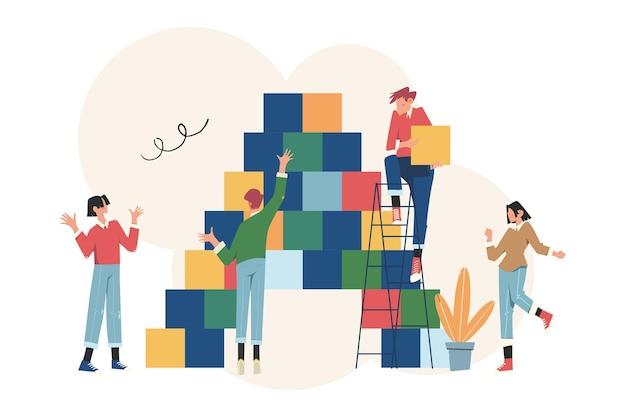 Personnes reliant les éléments de bloc symbole du travail d'équipe, de la coopération, du partenariat
