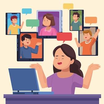 Personnes en réunion virtuelle