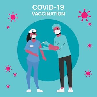 Les personnes à risque de recevoir le vaccin covid-19 à l'hôpital.