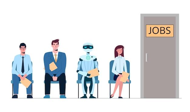 Personnes et robots en file d'attente pour les entretiens d'embauche