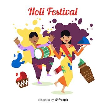 Personnes s'amusant holi fond de festival