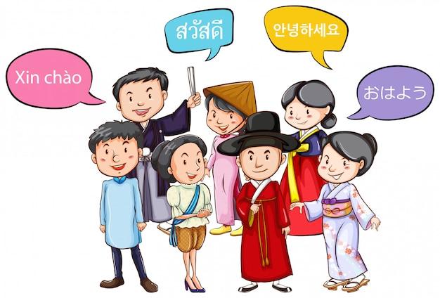 Personnes saluant dans différentes langues