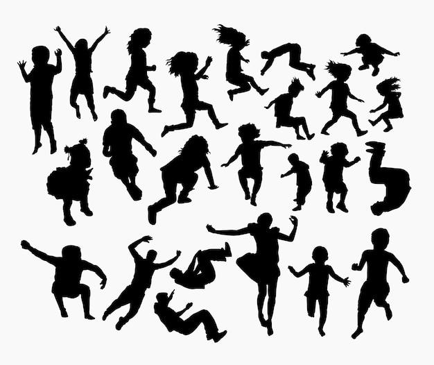 Personnes sautant silhouette