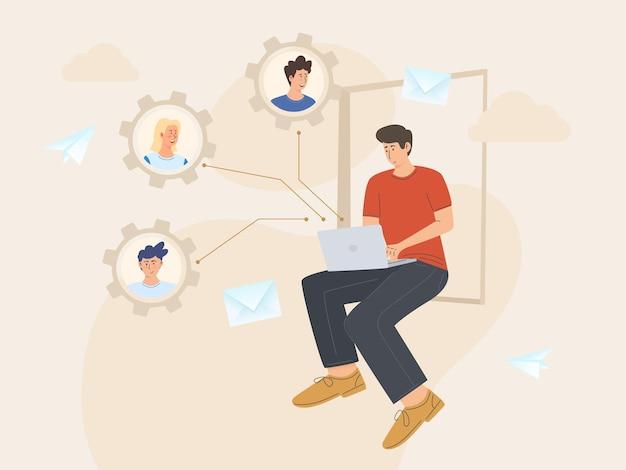 Personnes se connectant et travaillant en ligne ensemble sur un ordinateur portable travaillant à distance