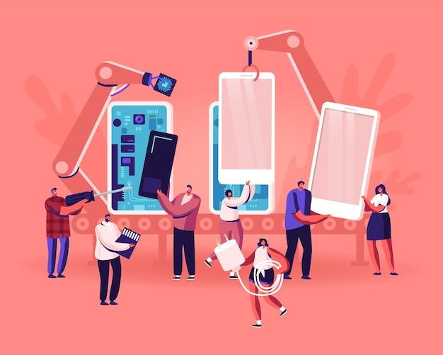 Personnes se réunissant et utilisant le concept de smartphones. illustration plate de dessin animé