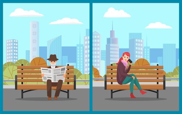 Personnes se situant dans un parc, vieil homme lisant un journal