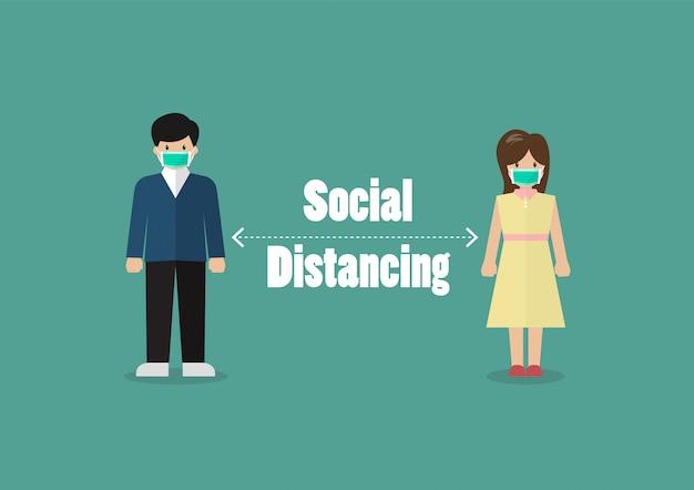 Les personnes se tiennent à distance du risque d'infection et de la maladie du virus corona